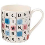 Taza Scrabble Alphabet,  de cerámica