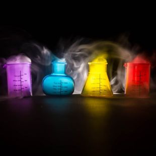 Set 4 chupitos química (probetas) con pipetas