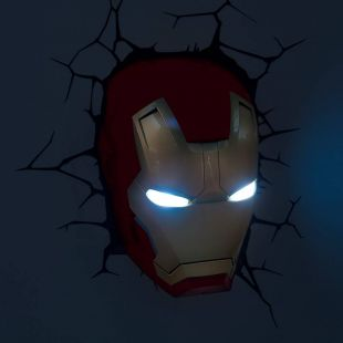 Lámpara 3D de pared, cabeza de Iron man, Marvel