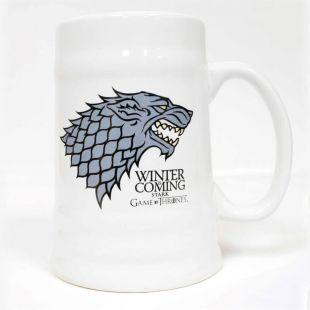 Jarra de cerveza blanca Stark Winter is Coming