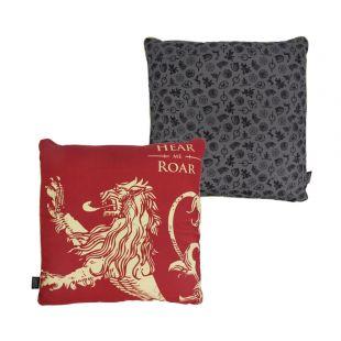 """Cojín cuadrado Lannister """"Hear me Roar"""" 46 x 46 cm. Juego de Tronos"""