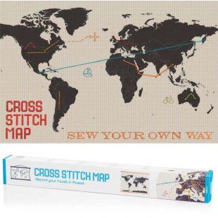 Mapamundi a punto de cruz, borda tus viajes