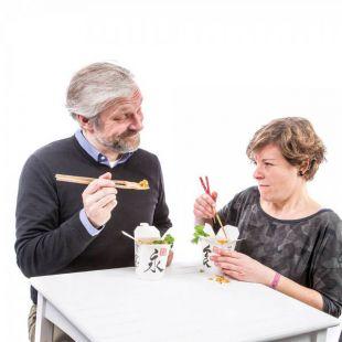 Palillos para aprender, con tenedor