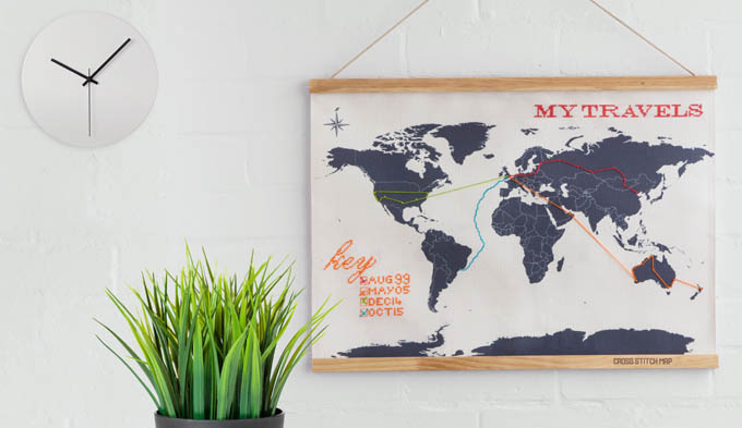 Mapa del mundo a punto de cruz